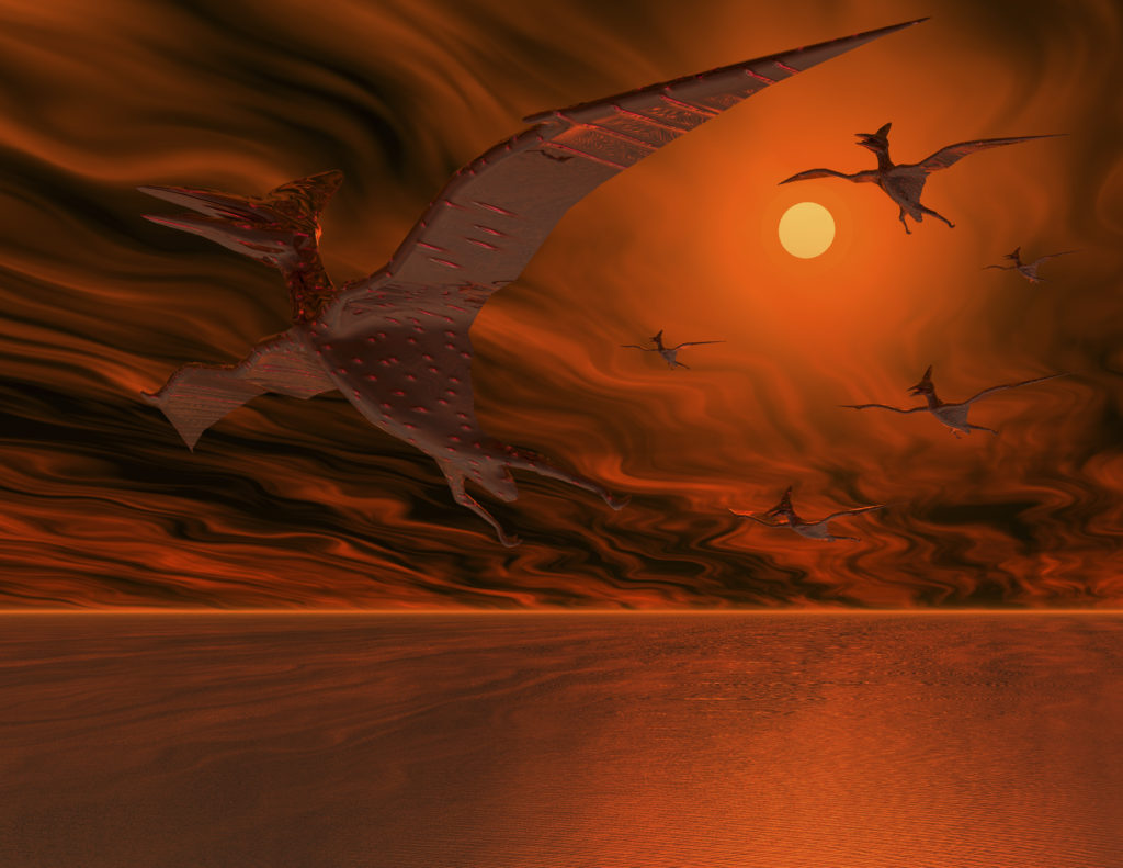 Digital visualization of flying dinosaurs