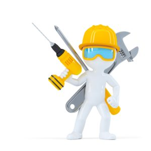 Construction worker/Builder with tools. Isolated on white background